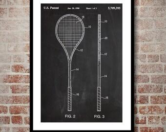 Squash Racket Print, Squash Racket Patent, Squash Racket Poster, Squash Racket Blueprint, Squash Racket Art, Squash Racket Decor p875