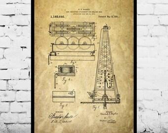 Oil Drilling Rig Patent , Howard Hughes Poster, Oil Drilling Rig Patent by Howard Hughes, Oil Rig Patent p1152