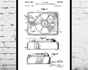Record Player Patent Record Player Poster Record Player Print Record Player Art Record Player Decor Record Player Blueprint p246
