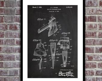 Axe Patent Axe Poster Axe Blueprint Axe Print Axe Wall Art Axe Decor p452