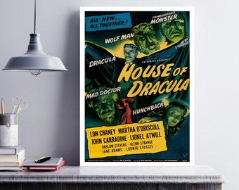 MOVIE poster vintage House Of Dracula Classic Horror space poster Poster Art Vintage Print Art Home Decor movie poster Halloween Decor sp626