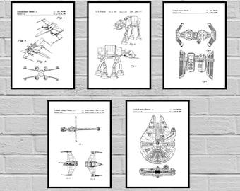 Star Wars patent Millennium Falcon Tie Bomber Xwing ATAT Star Wars Poster Star Wars Patent Millennium Falcon Star Wars Print SP409