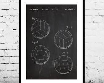 Volleyball Patent Volleyball Poster Volleyball Blueprint  Volleyball Print Volleyball Art Volleyball Decor Sports Wall Decor p663