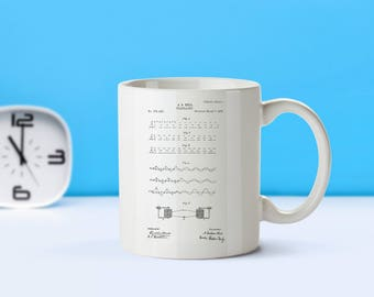 Morse Code patent mug  coffee mug  coffee lover  patent art  patent mug  Telegraphy Vintage Decor Telegraph InventionM146