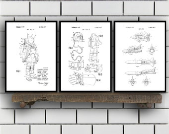 Space Patents Set of 3 Prints, Space Prints, Space Posters, Space Blueprints, Space Art, Space Wall Art, Space Prints, Space Art Sp331