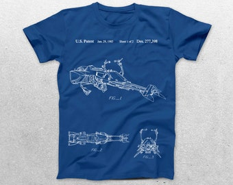 Star Wars Hover Bike Patent T-Shirt, Star Wars Blueprint,Patent Print T-Shirt, Nerdy Gift, Star Wars t-shirt, Star Wars Gift p1380