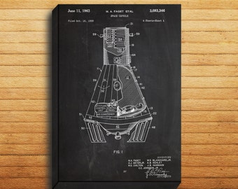 CANVAS  Space Capsule Art Space Capsule Print Space Capsule Poster Space Capsule Patent Space Decor Space Capsule Blueprint p272