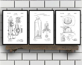 Firefighter Patent Prints, Firefighter Set of THREE, vintage Firefighter Invention Patent, Firefighter Poster, Firefighter Print SP279