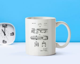 Firetruck patent mug  coffee mug  coffee lover  patent art  patent mug  Firefighter gift Fire Engine Collectible Fireman GiftM251
