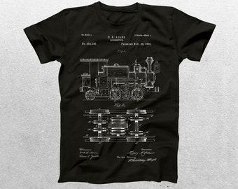Locomotive Train Patent T-Shirt, Locomotive Train Blueprint, Patent Print T-Shirt, Locomotive Train Shirt, Vintage Train p196