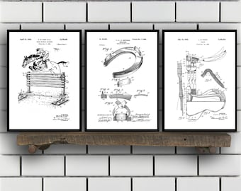 Equestrian Inventions set of THREE, Equestrian Patent, Equestrian Art, Equestrian Wall Art, Horse Saddle Patent, Horse Jump Patent SP294
