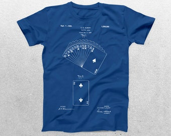 Deck of Cards Patent T-Shirt, Deck of Cards Blueprint, Patent Print T-Shirt, Playing Cards Shirt, Deck of Cards, Gambling Gift p1209