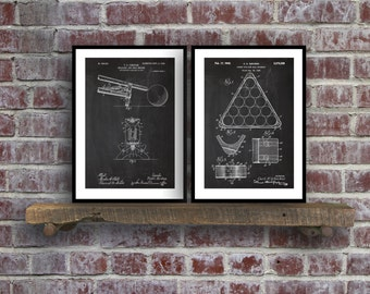 Billiard Ball Patent Prints  Set of 2  Billiards Decor  Billiard Ball Art  Billiard Rack Blueprint  Pool Bridge  Pool Hall Art sp25