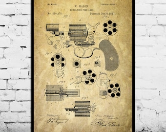 Revolving Fire Arm Print Revolving Fire Arm Poster Revolving Fire Arm Patent Revolving Fire Arm Decor Revolving Fire Arm Blueprint p1285
