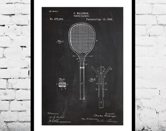 Tennis Racket Print, Tennis Racket Patent, Tennis Racket Poster, Tennis Racket Blueprint, Tennis Racket Art, Tennis Racket Decor p294