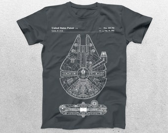 Star Wars Millenium Falcon Patent T-Shirt, Millenium Falcon Blueprint, Star Wars T-Shirt, Star Wars Gifts, p933