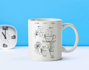 Tea Bag patent mug  coffee mug  coffee lover  patent art  patent mug  Tea Gift Vintage Gift For Tea Lover's Tea CollectibleM282