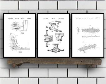 Skateboard Patents Set of 3 Prints, Skateboard Prints, Skateboard Posters, Skateboard Blueprints, Skateboard Art, Skateboard Wall Art Sp404