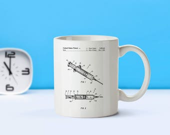 Syringe patent mug  coffee mug  coffee lover  patent art  patent mug  Medical Decor Doctor Gift Nurse Gift Vintage MedicalM33