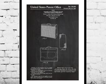Fender 1962 Pro Amp, Guitar amp Patent Poster, Recording Studio, Fender Amp Print, Gift for dad, Home Decor, Teen decor, Gifts for him p1440