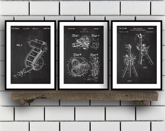 Motion Picture Patent Prints, Cinema Set of THREE, vintage Cinema Invention Patent, Cinema Poster, Cinema Print, Cinema, Cinema SP275