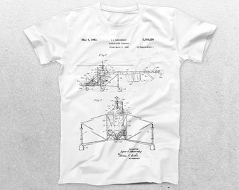 Sikorsky Helicopter Patent T-Shirt, Helicopter Blueprint, Patent Print T-Shirt, Aeronautical Engineer, Military Black Hawk Helicopter p265