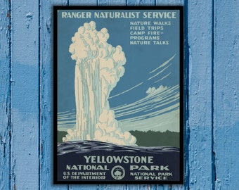National Park Poster - Vintage Prints - Vintage National Park - Yellowstone National Park - Yellowstone Park 166