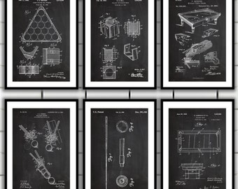 Pool Billiards Patent Prints - Set of 6 - Billiards Decor - Billiard Cue Art - Billiards/Pool Table Blueprint - Pool Rack Art sp28