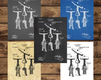 INSTANT DOWNLOAD - Corkscrew Patent, Corkscrew Patent Poster, Wine Decor, Wine Gifts, Kitchen Decor, Restaurant Decor, Home Decor, Vintage