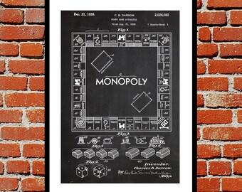 Monopoly Print, Monopoly Poster, Monopoly Patent, Monopoly Art, Monopoly Blueprint, Monopoly Wall Art, Board Games p1442