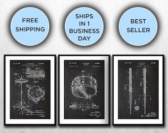 Drum Patents Set of 3 Prints, Drum Prints, Drum Posters, Drum Blueprints, Drum Art, Drum Wall Art SP316