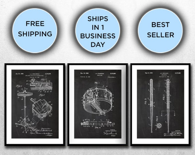 Featured listing image: Drum Patents Set of 3 Prints, Drum Prints, Drum Posters, Drum Blueprints, Drum Art, Drum Wall Art SP316