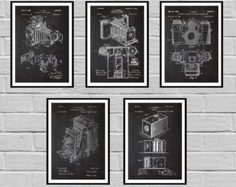 Camera Patent SET of 5 Vintage Camera Patent Vintage Camera Print Vintage Camera Vintage Camera Decor Camera Blueprint Camera sp423