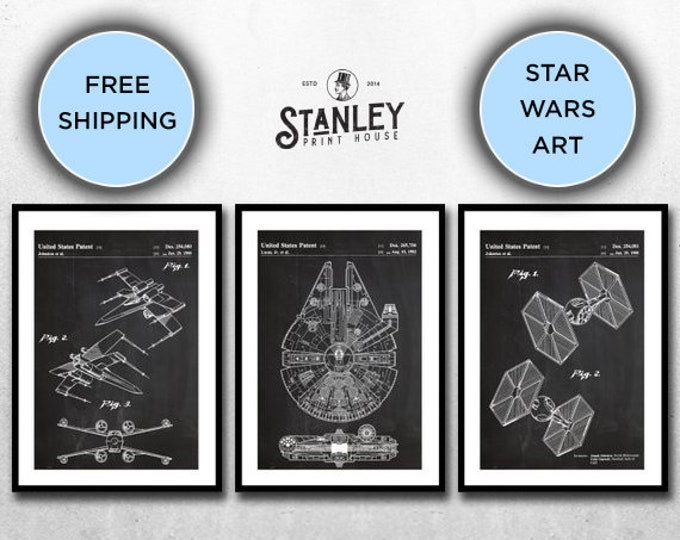 Featured listing image: Star Wars set, Millennium Falcon Star Wars Poster, Tie Bomber Star Wars Patent, Millennium Falcon Star Wars Print, Millennium Falcon p536