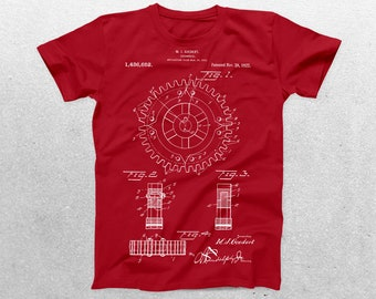 Cogwheel Patent T-Shirt, Cogwheel Blueprint,Patent Print T-Shirt, Steampunk Shirt, Cog Gear, Cogs, Industrial Patent p084