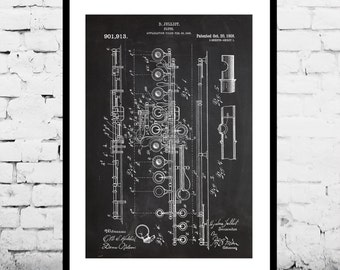 Flute Print, Flute Poster, Flute Patent, Flute Art, Flute Decor, Flute Blueprint, Flute Wall Art, Musical Decor, Musician Gifts p127