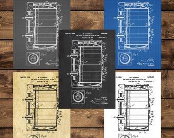 INSTANT DOWNLOAD - Beer Barrel Print, Beer Barrel Poster, Beer Barrel Patent, Beer Barrel Art, Beer Barrel Decor, Beer Barrel Blueprint