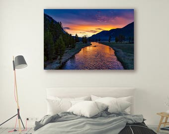 Nature Print Large Wall Art Print Photography Print Nature Photography Sunset Flowing River Mountain Art Home Decor Forest PH023