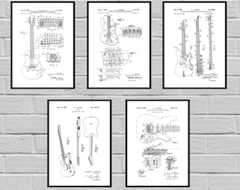 Guitar Patents Set of 5 Prints Guitar Prints Guitar Posters Guitar Blueprints Guitar Art Guitar Wall Art Guitar  Guitar gift sp476