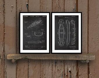 Canoe Patent Prints  Set of 2  Canoe Patent Canoe Poster Canoe Blueprint Canoe Print Canoe Art Canoe Decor sp30
