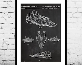 Star Wars  Patent Star Wars A Wing Poster Star Wars A Wing Print Star Wars A Wing Art Star Wars A Wing Decor p922