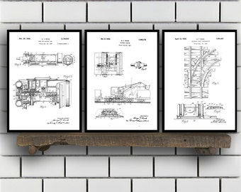 Railway Related Patent Set of THREE, Railway Invention Patent, Train Poster, Train Print, railway Patent, train Inventions SP133