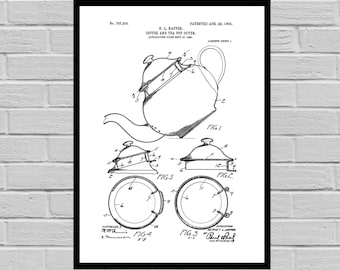 Coffee Related Patent - Coffee Pot - Coffee Art - Coffee Poster - Coffee Grinder Patent - Percolator Patent - French Press Patent p505