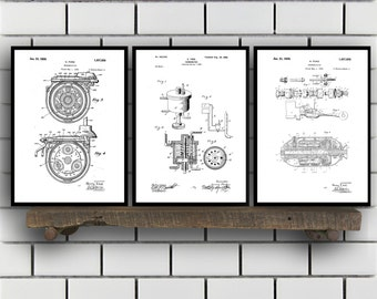 Ford Patent SET of 3 - Henry Ford Patent - Ford Inventions - Ford Motors Art - Ford Transmission Patent - Mancave Decor - Ford Carb SP451