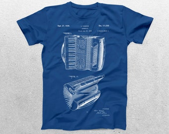 Accordion Patent T-Shirt, Accordion Blueprint, Patent Print T-Shirt, Music Lover Gifts, Accordion Player T-Shirt p371