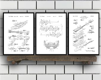 Rowing Related Patent Set of Three, Rowing Oars Invention Patent, Rowing Poster, Rowing Print, Rowing Patent, Rowing Inventions,Rowing SP372