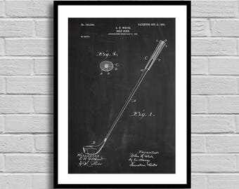 Golf Club Patent, Golf Club Patent Poster, Golf Club Blueprint, Golf Club Print, Golf, Golfing, Sports Decor, Vintage, Gifts for Him p815