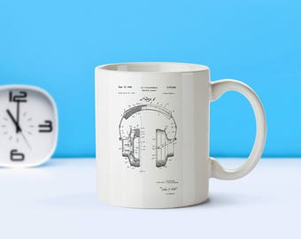 Headphones patent mug  coffee mug  coffee lover  patent art  patent mug  DJ gift Gifts for Music Lovers Musician CollectiblesM172