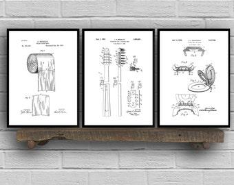 Bathroom Poster, Bathroom Art, Bathroom Decor, Bathroom Art, Toilet paper, Toilet Seat, Tooth Brush, Bathroom Wall Art, Bathroom 3 set SP573