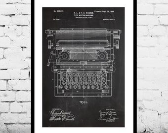 Typewriting Machine Patent Typewriting Machine Poster Typewriter Blueprint  Typewriter Print Typewriter Art Typewriter Decor p308